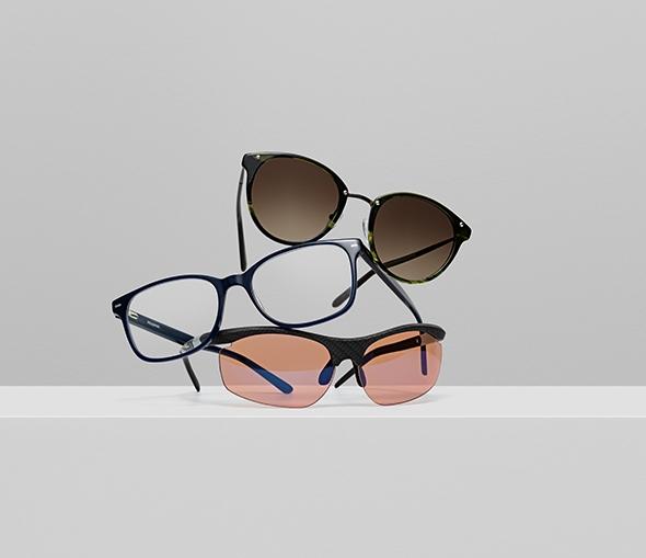 Tre briller stablet